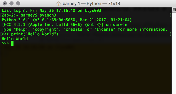 Screenshot of the Python interpreter on the Mac