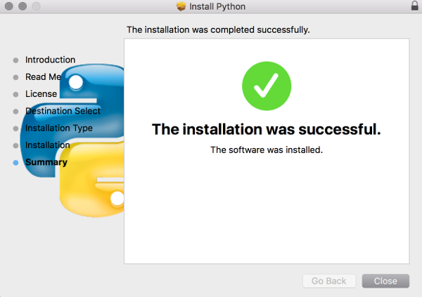 Screenshot of installing Python on the Mac