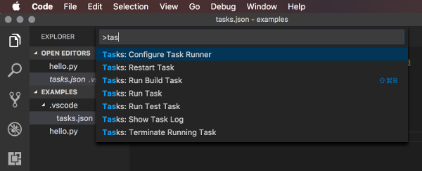 Screenshot of the Configure Task Runner option in Visual Studio Code