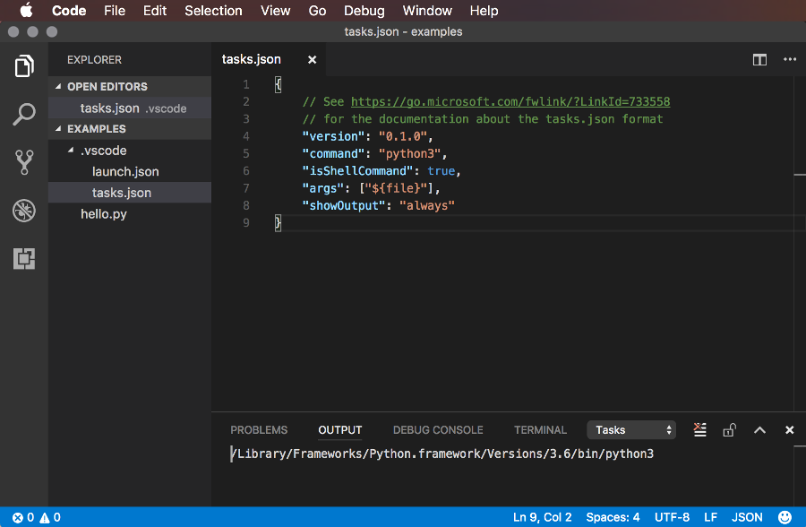 Screenshot of configuring the tasks.json file in Visual Studio Code