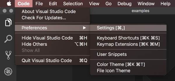 Screenshot of the settings menu in Visual Studio Code