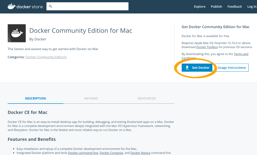Docker CE for Mac download page