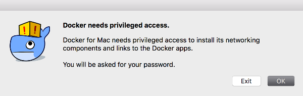 Docker password request notification
