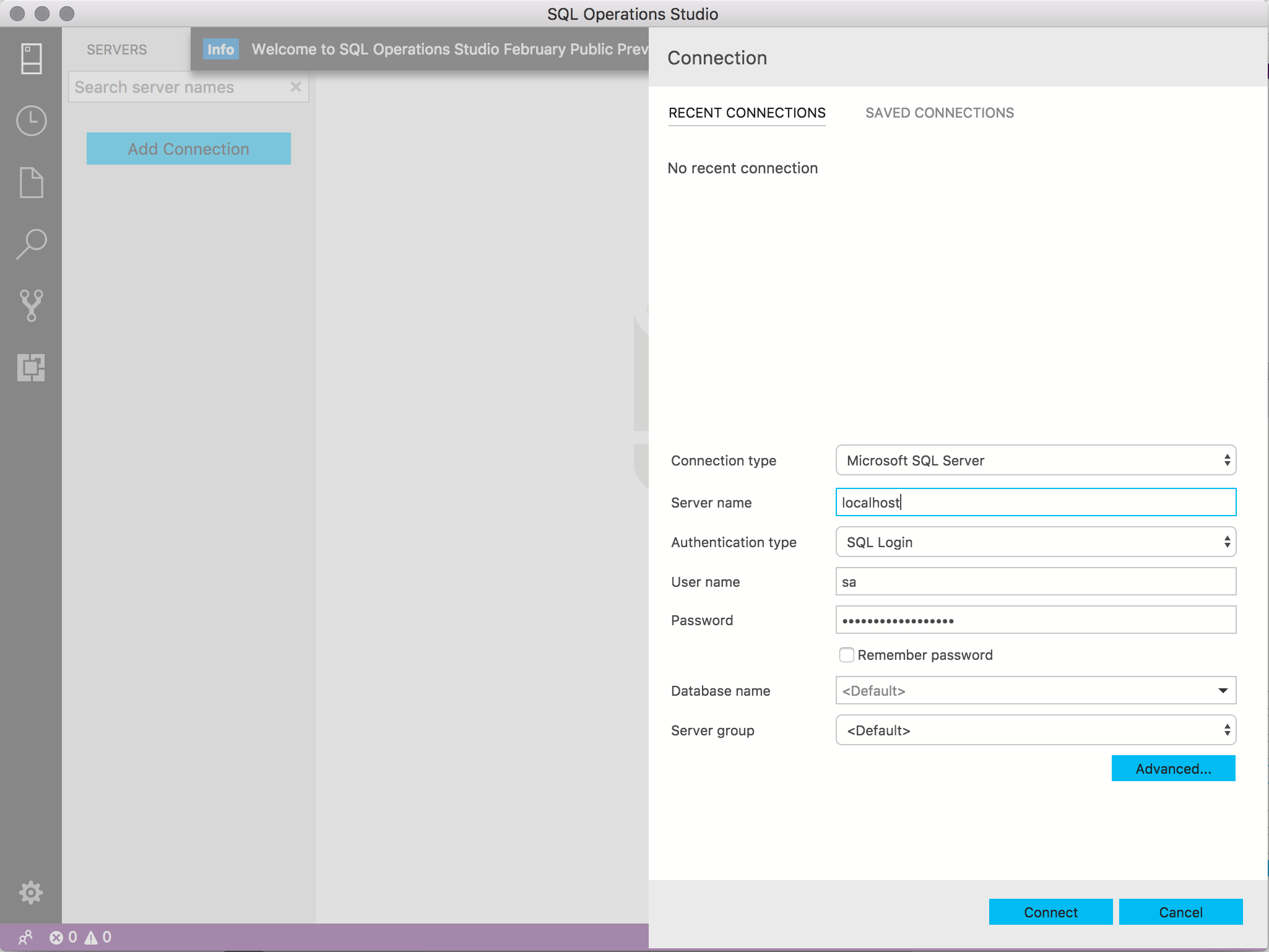 Screenshot of connecting to SQL Server with SQL Operations Studio (SQLOPS)