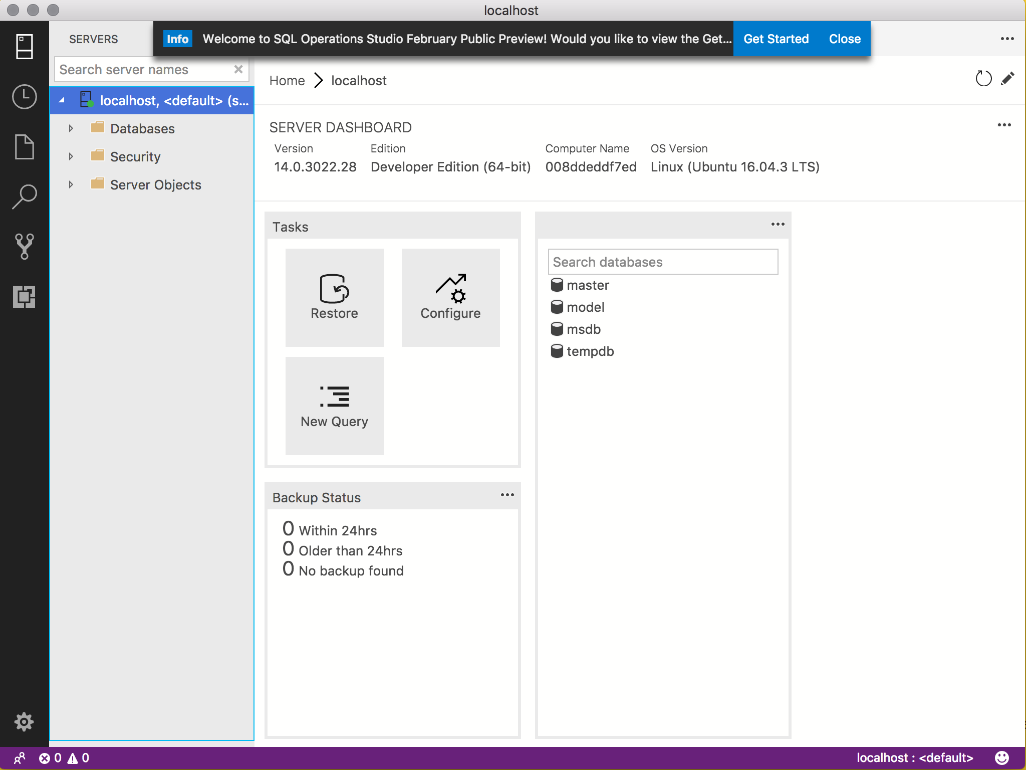Screenshot of the SQL Operations Studio server dashboard