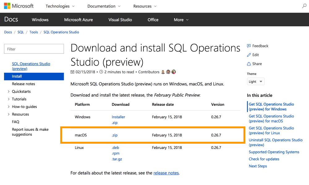 Screenshot of the Microsoft download page for SQL Operations Studio