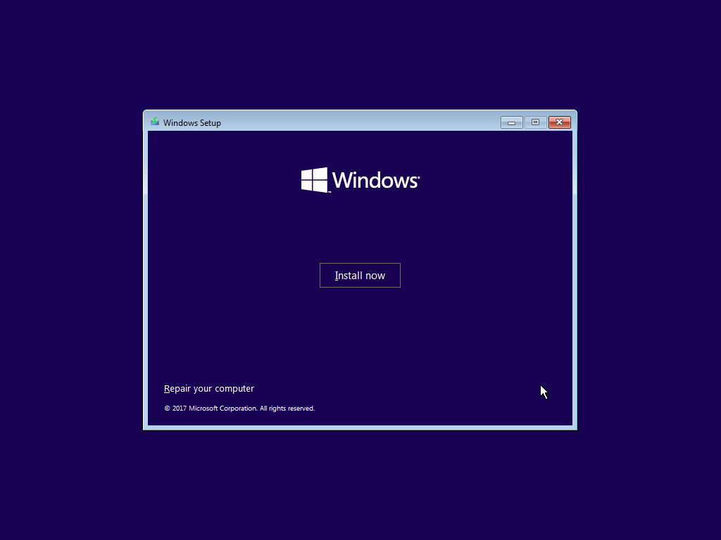 Screenshot of the Windows installation screen.