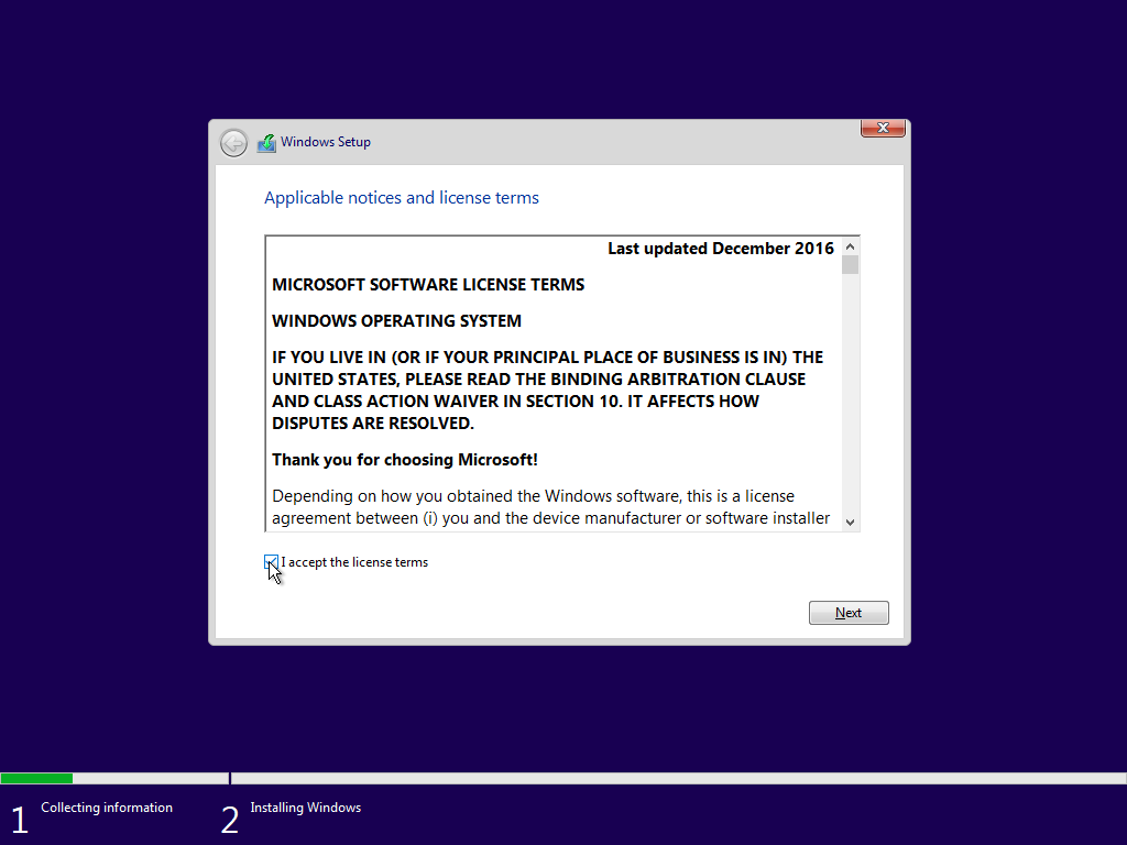 install sql server 2016 on virtualbox