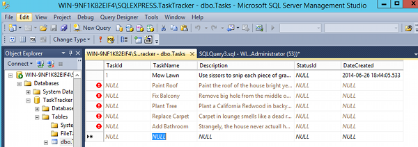Screenshot of editing the top 200 rows of a table in SSMS