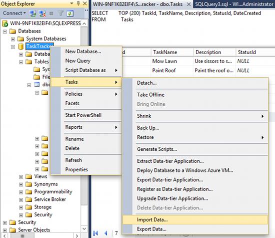 Screenshot of selecting the Import Data option