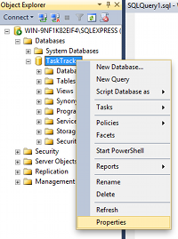 Screenshot of right clicking on database