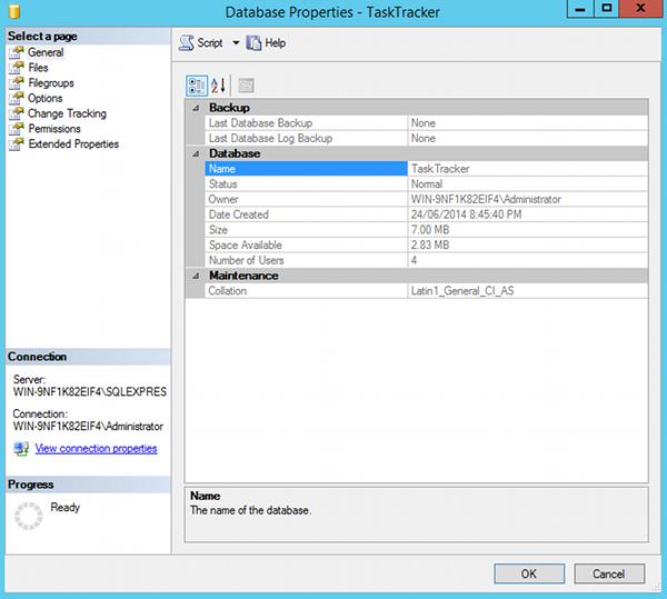 Screenshot of the Properties dialog box