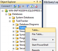 Creating a table in SQL Server 2014 - step 1