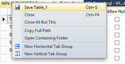 Screenshot of Save Table As... contextual menu