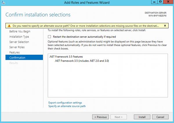 Install .NET 3.5 - step 8