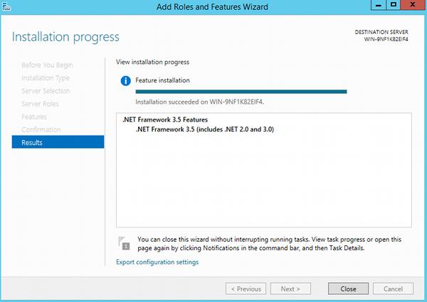 Install .NET 3.5 - step 11