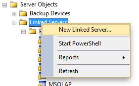 Creating a linked server in SQL Server Management Studio - 1
