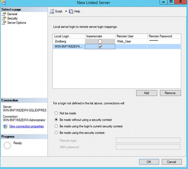 SQL Server 2014 - Linked Servers
