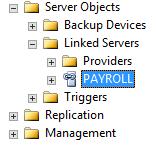 Screenshot of linked server in Object Explorer