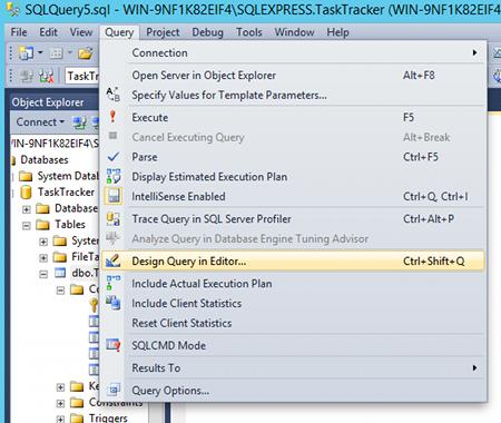 Sql server 2014 query designer for Sql server table design query
