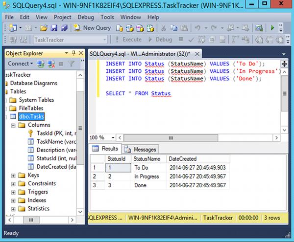 Screenshot SQL query results