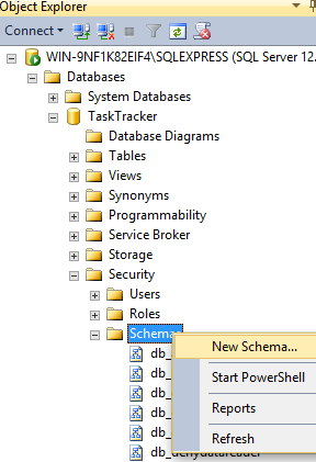 Creating a database schema in SQL Server 2014 Management Studio - 1