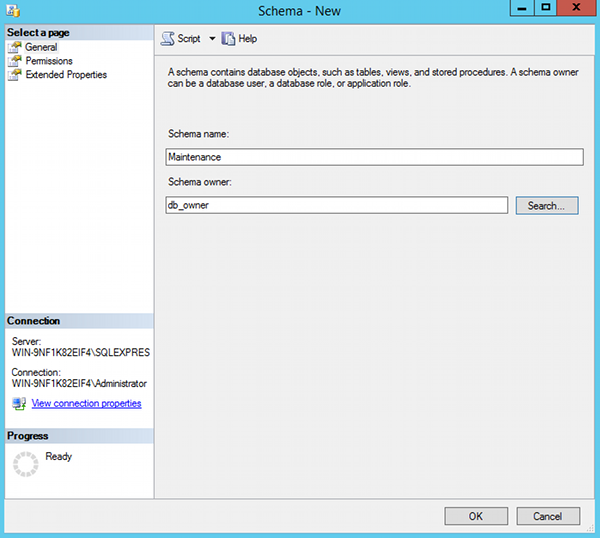Creating a database schema in SQL Server 2014 Management Studio - 2