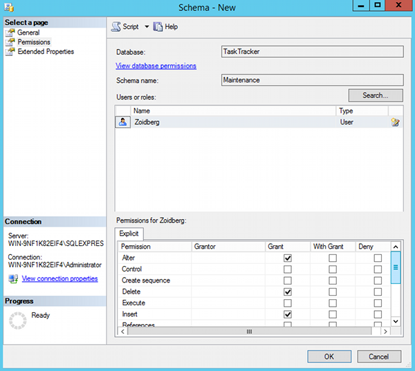 Creating a database schema in SQL Server 2014 Management Studio- 6