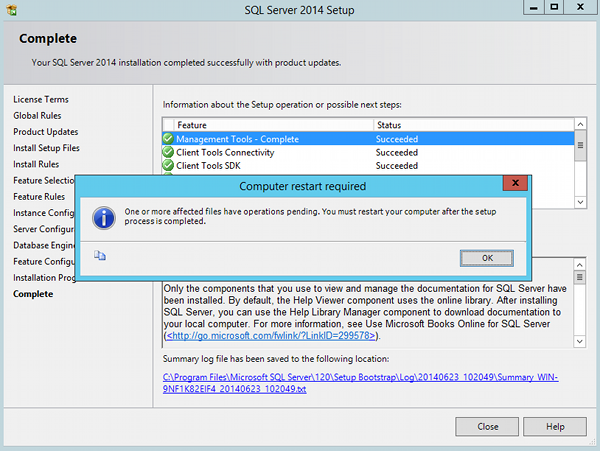 Install SQL Server 2014 - step 11