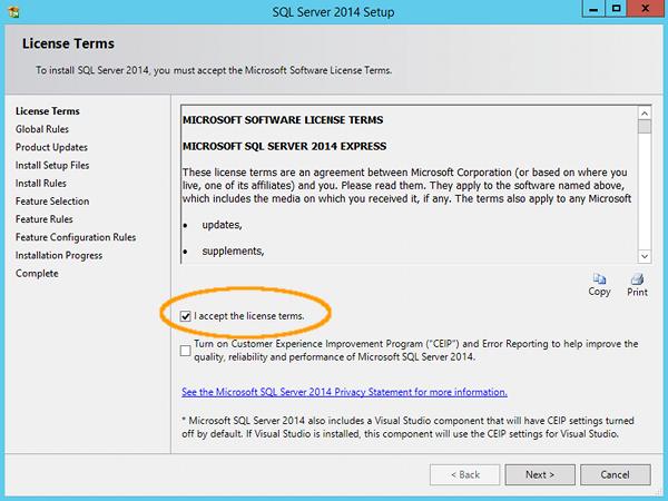 Install SQL Server 2014 - step 5