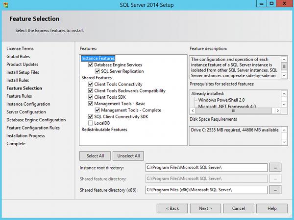 Install SQL Server 2014 - step 6