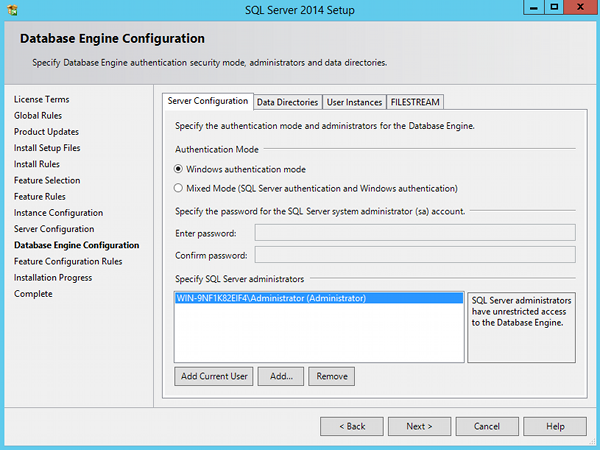 Install SQL Server 2014 - step 10