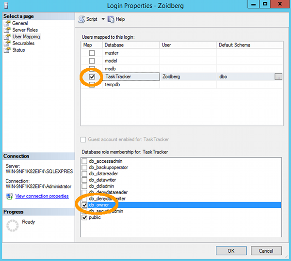 Creating a new login in SQL Server - User Mapping tab