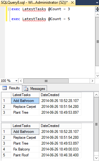 Screenshot of stored procedure being executed