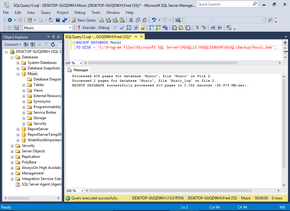 Screenshot of backing up a database using SQL.