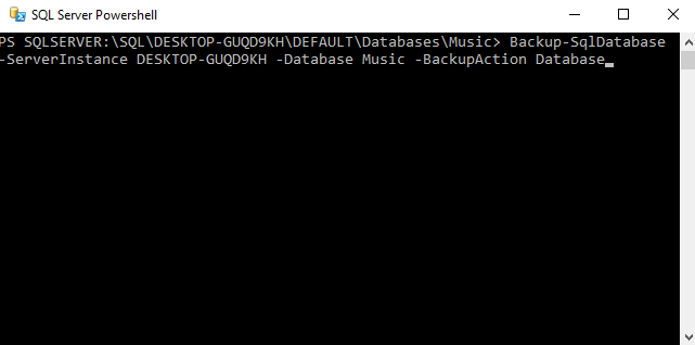 Screenshot of backing up a database using PowerShell.
