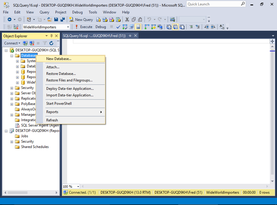 Screenshot of creating a database in SSMS.