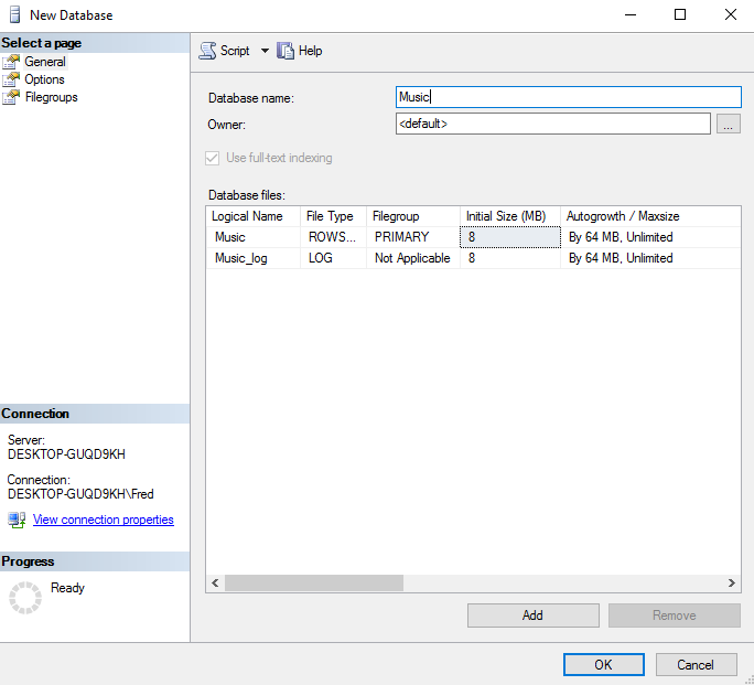 Sql server 2016 create a database screenshot of creating a database in ssms ccuart Gallery