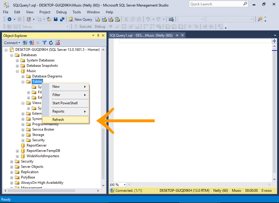 Screenshot of creating a database user in SQL Server.