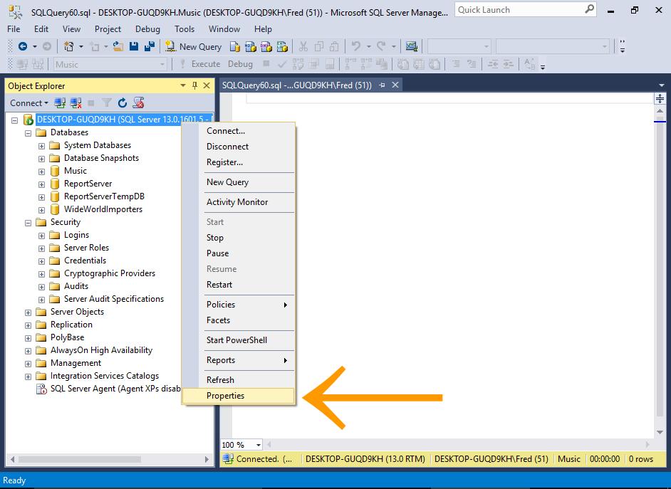 Screenshot of adding SQL Server Authentication mode to the server.