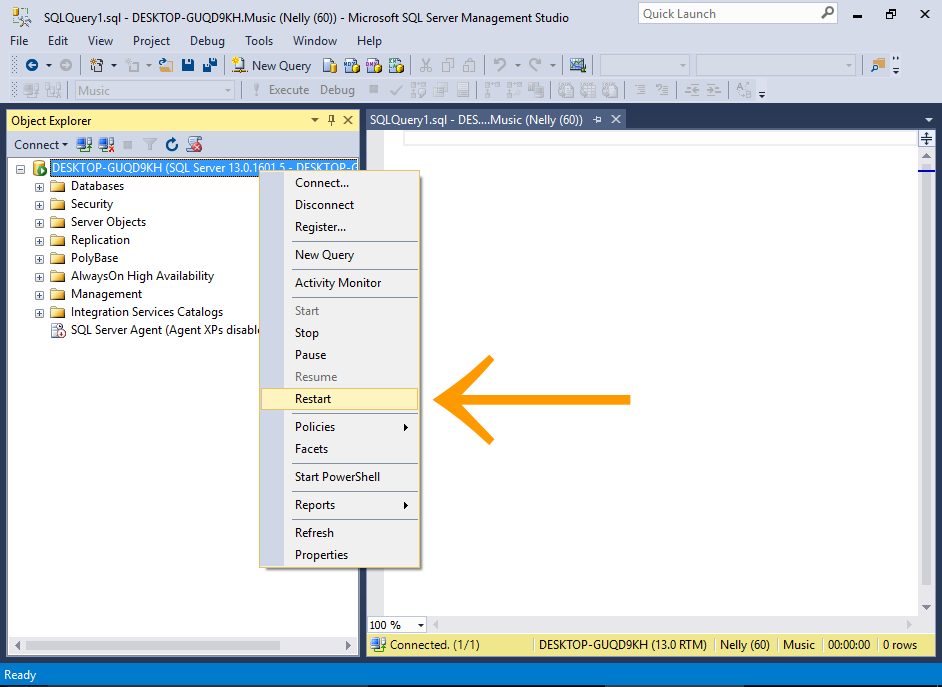 Screenshot of adding SQL Server Authentication mode to the server.