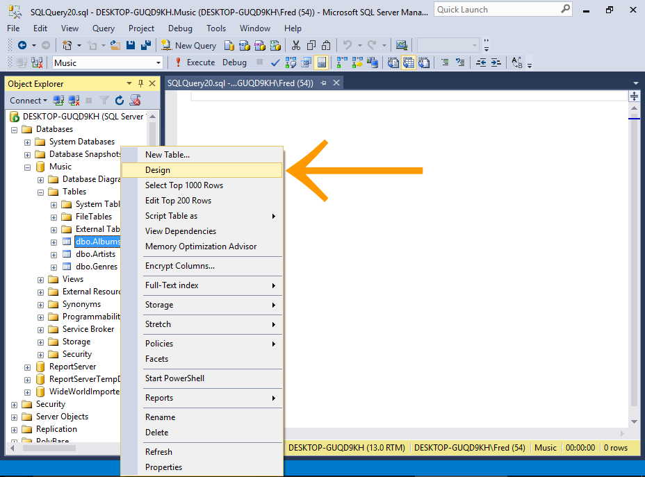Screenshot of selecting table Design from the SSMS GUI.