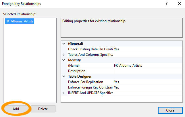 Screenshot of the Foreign Key Relationships dialog.