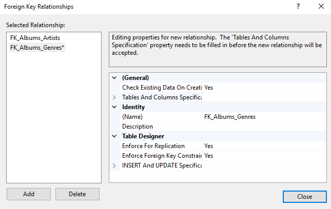 Screenshot of the Foreign Key Relationships dialog box.
