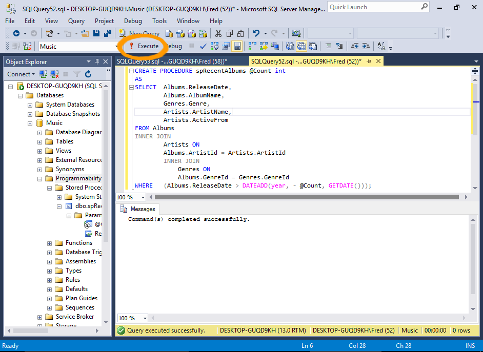 Screenshot of creating a stored procedure in SQL Server.