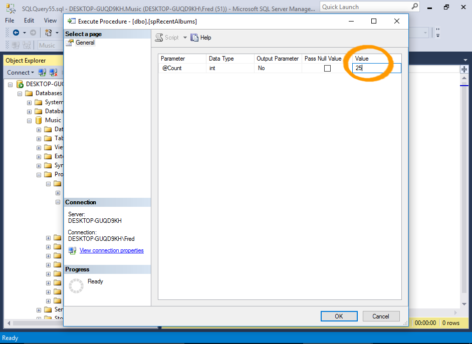Screenshot of executing a stored procedure via the GUI.