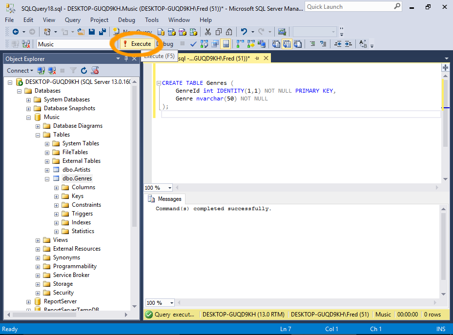 sql server 2016 create a table from an sql script