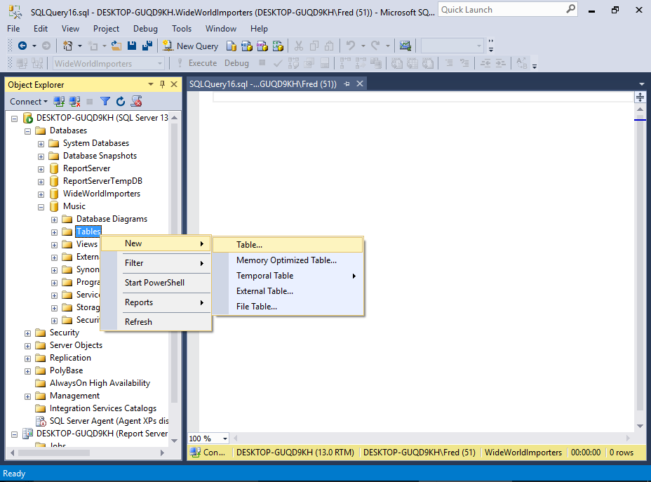Sql server create new table from select statement for Sql table design query