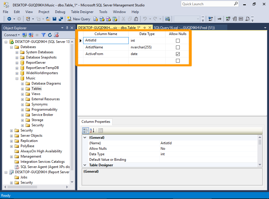 Add column to table sql sql server 2016 create a table for Sql table design query