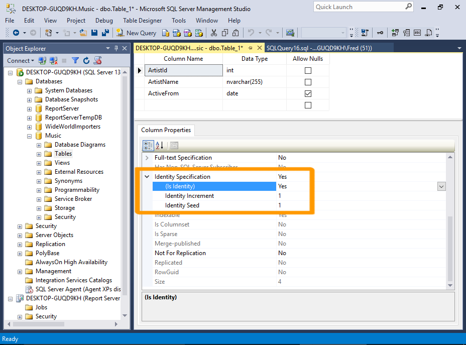 Screenshot of creating a table in SSMS.